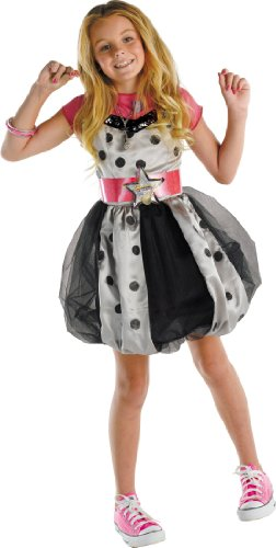 [Deluxe Hannah Montana Pink Polka Dot Dress Costume - Child Medium] (Miley Cyrus Disney Costume)