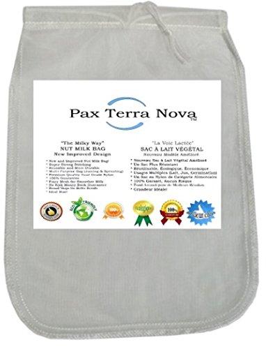 Nussmilchbeutel - # 1 Premium-Qualität Mandelmilch Sieb - Neues Design - Super Stark - Erstaunlich Glatte Milch - Feineres Netz 200 Micron - Aus Lebensmittelqualität Mikron - Wiederverwendbar - Umweltfreundlich - Soy Reis Kokosnuss Kaschunuss Saatgut Mandelmilch - Obst Gemüse Entsaften - Sprossenzucht - Beste Ergebnisse - Runde Form (Nut Milk Bag)