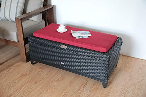 Orange Casual Outdoor 3 in 1 Resin Wicker Storage Bench Box with Seat Cushion, Aluminum Frame, Black Rattan and Red Cushion