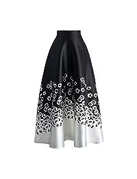 Eiffel Women's Flower Print Colorblock High Waist A-line Swing Maxi Skirt Dress