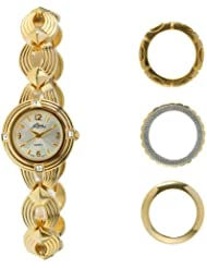 Pierre Jacquard BZ3 Womens Gold-Tone Bezel Interchangable Gift Set Watch