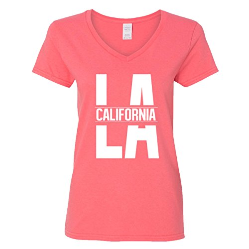 V-neck California T-shirt Womens (GOOD SHOPPERS ACTIVEWEAR LA California V-Neck T-Shirt for Women Republic Cali Life Bear Los Angeles Weed (Coral Silk Pink,X-Large))