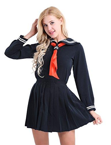 CHICTRY Japanese Sailor Suit Cosplay Costume Sexy Women Schoolgirl Uniform Dress (Medium, Dark Navy)