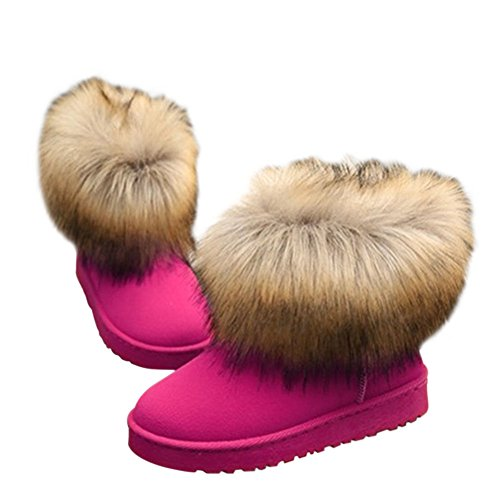 Fur Shoe Meijunter Women Flat Winter Red Ankle Snow Fluffy Casual Warm Rose Boots Ladies Faux Comfy gOgqX