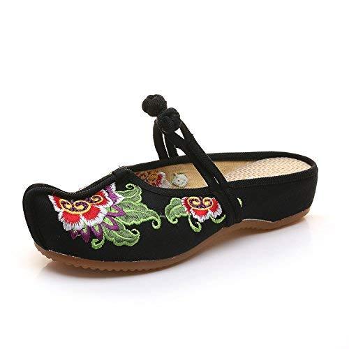 Bestickte Schuhe Sehnensohle ethnischer Stil weiblicher Flip Bequeme Flop Mode Bequeme Flip lässige Sandalen Schwarz (Farbe   - Größe   -) 6d2117