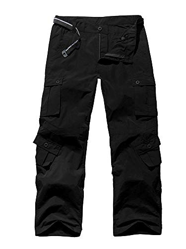 Jessie Kidden Men's Outdoor Casual Anytime Quick Dry Lightweight Breathable Hiking Fishing Cargo Pants with 8 Pockets #6052, Black, 32 Small ()