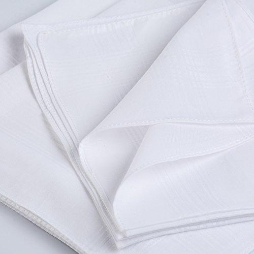 H.FaceSSS Men's Handkerchiefs White 100% Cotton Pack of 13 Fine Pocket Square Hankies by H.FaceSSS (Image #4)