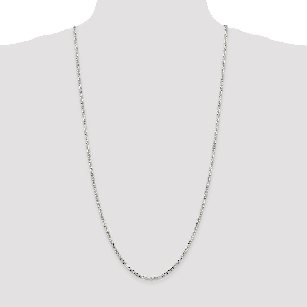 Solid 925 Sterling Silver 2.75mm Beveled Oval Cable Pendant Chain Necklace