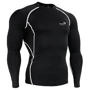 Baleaf Men's Cool Dry Skin Fit Long Sleeve Compression Shirt Color Grey Size XL