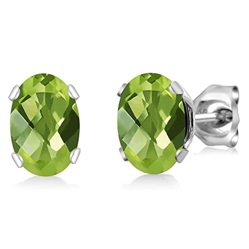 - 2.00 Ct Oval Checkerboard Shape Green Peridot Sterling Silver Stud Earrings
