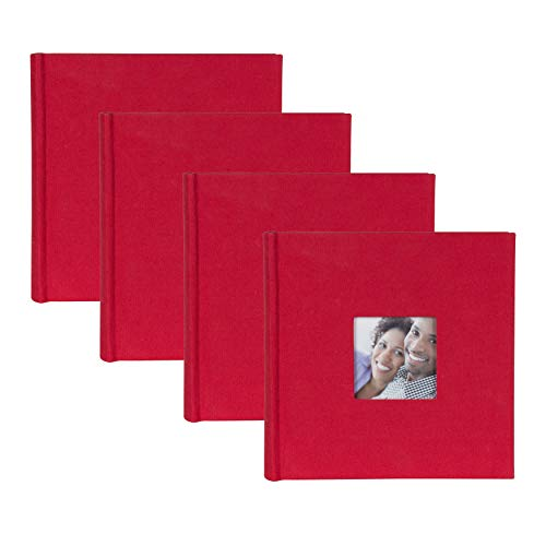 DesignOvation Red Fabric Photo Album with Photo Opening, Holds 200 4x6 Photos, Set of 4