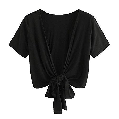 Cutwork Yoke - Women Lady Bow Short Sleeve Top Shirt Blackless V Neck Vest Short for Men Cami Blouse