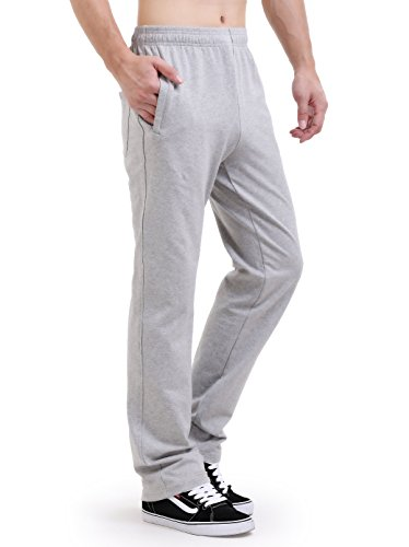 DOUBLE STAR Men's Sweatpants Active Open Bottom Pants Athletic Cotton Sport Pants Heavy Weight Fit (XL, Light Grey)