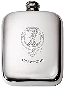 Crawford Scottish Clan Crest Name Pewter Hip Flask 6oz