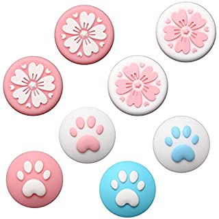Fpxnb 4 Pairs Nintendo Switch Thumb Grip Set, Analog Stick Silicone Cap Joystick Covers, Cat Claw & Sakura Flower Design, Compatible with Nintendo Switch Joy-Con Controllers & Lite, Pink & Blue