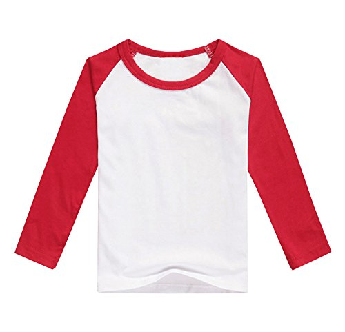 Baseball Kids T-shirt (Gemijack Unisex Kids Raglan Long Sleeve Baseball Jersey Tee Toddler Boys Girls Knit T-Shirt Tops)