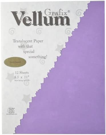 12-Pack Assorted Color Grafix 8-1//2-Inch by 11-Inch Vellum