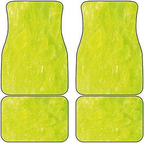 VINISATH Front & Rear Car Mats Set of 4,Lime Green Grunge Hazy Color Print Decorative Universal Fit Car Floor Carpet with Non Slip Backing for SUV,Trucks,Sedans