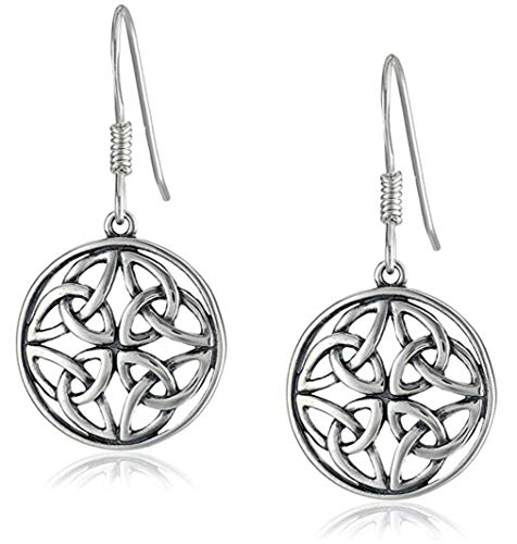 Sterling Silver Celtic Knot Round Drop Wire Earrings, Large Dara Celtic Knot Dangle Earrings, # ()
