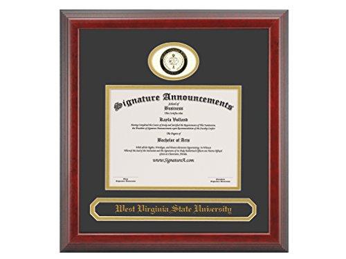(Signature Announcements West-Virginia-State-University Undergraduate, Professional/Doctor Sculpted Foil Seal & Name Graduation Diploma Frame, 16