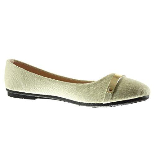 Angkorly - damen Schuhe Ballerina - Slip-On - metallisch - Geflochten flache Ferse 1 CM - Beige
