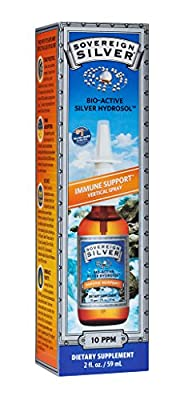 Sovereign Silver Bio-Active Silver Hydrosol for Immune Support - 10 ppm, 2oz (59mL) - Vertical Spray