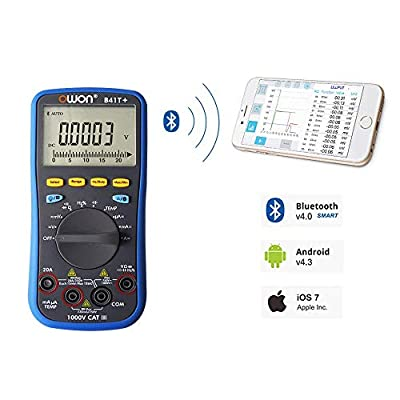 Owon B41T+ Digital Multimeter with Bluetooth supports mobile device with Android 4.3 or above/iOS 7.0 or above OS, True RMS and Offline Recording Function with Bluetooth adapter for PC