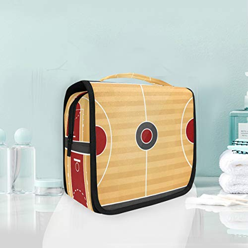 Makeup Cosmetic Bag Top View Of Basketball Court Portable Storage Travel Toiletry Bag