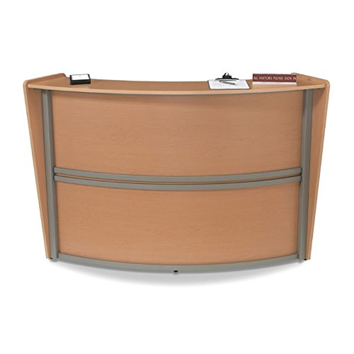 OFM Marque Series Single-Unit Curved Reception Station, Maple by OFM