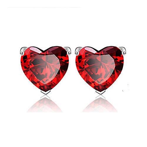 EVBEA Sterling Silver Stud Earrings Cubic Zirconia Red Rhinestone Heart Hypoallergenic Jewelry For Women