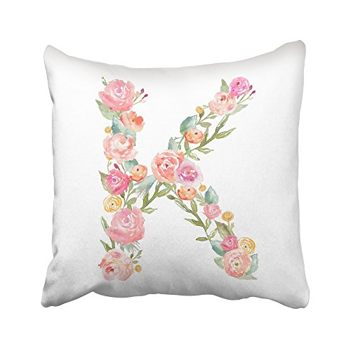 Emvency Decorative Throw Pillow Covers Cases Colorful Alphabet Watercolor Floral Monogram Letter K Flowers Leaves Made Flowers 16x16 inches Pillowcases Case Cover Cushion Two Sided (Monogram Sawtooth)