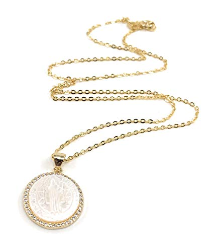 - Beautiful Mother of Pearl Medalla San Benito 18k Gold Plated Chain 17 Inches