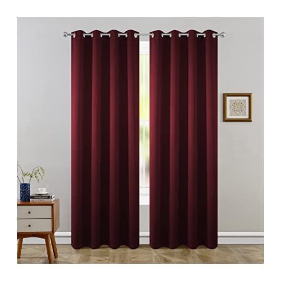 """FLOWEROOM Blackout Curtains Thermal Insulated Draperies with Grommet for Bedroom, Burgundy Red, 52 by 84 inch, 2 Panels - PACKAGE INCLUDED: Set includes 2 panels per package, each panel measuring 52 inch wide by 84 inch long. 8 sliver opening grommet with 1.6"""" diameter, fit standard-sized curtain rods PERFORMANCE: Blocks 95% of Sunlight and UV rays to any room anytime of the day, lowers outside noise up to 40% thanks to the innovative triple weave technology. ENERGY SAVING: Creates energy-saving insulating barrier against heat and cold, keeping room cooler in the summer and warmer in the winter. - living-room-soft-furnishings, living-room, draperies-curtains-shades - 41WkC4 s5bL. SS570  -"""