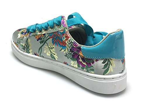 Bambu Grandslam Snygga Kvinnor Mode Sneakers Plattform Hälen Blommigt Tyg Vitt Tyg