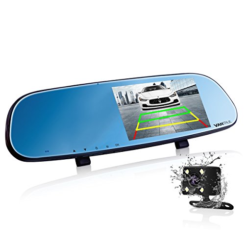 Vantrue N3 Dual dash cam 5'' IPS Touch Screen FHD 1080P Rear view Mirror Dash Cam and IP 67 Waterproof Car Reverse Backup Camera with Low Light Level Night Vision
