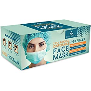 Disposable Face Masks with Elastic Ear Loop 3 Ply Breathable and Comfortable for Blocking Dust Air Pollution Protection (50)
