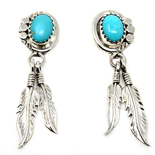 (Navajo Sterling Silver & Turquoise Feather Dangle Earrings | 1 1/2