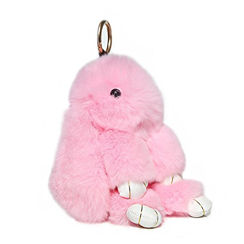 Pink Bunnies Fluffy (RitzyBay Handmade Rex Rabbit Fur Bunny Keychain with RitzyBay GiftBox (Small, LightPink))