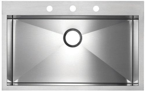 Blanco BL516197 BlancoPrecision MicroEdge Super Single Bowl Sink with 3-Hole Ledge, Satin Polished