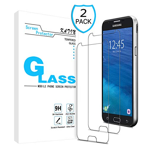 KATIN Galaxy J3 2018 Screen Protector - [2-Pack] Tempered Glass for Samsung Galaxy J3 Achieve/ J3 Star/ J3 V (3rd Gen) 2018/ J3 Orbit Easy to Install, Bubble Free with Lifetime Replacement Warranty