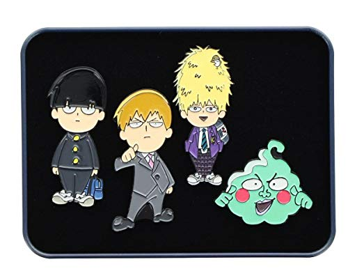 Enamel Mango (Anime Mob Psycho 100 4-Piece Enamel Collector Pin Set and Manga Collectible Accessories - Perfect Unique Supher Hero Gift for Birthdays, Holidays, House Warming Parties Grey)