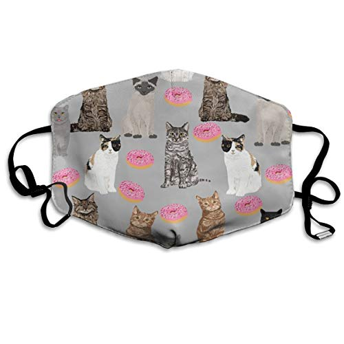 Dust Face Mask for Dust Mouth Mask,Cats Donuts Grey Anti-Dust Mask Adjustable Earloop Face Mask]()