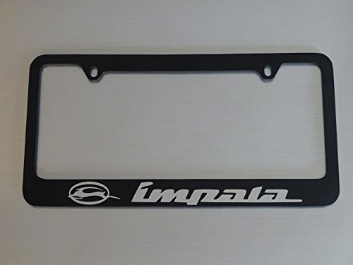 AtoZCustoms Chevy Impala License Plate Frame, Glossy Black, Brushed Aluminum Text