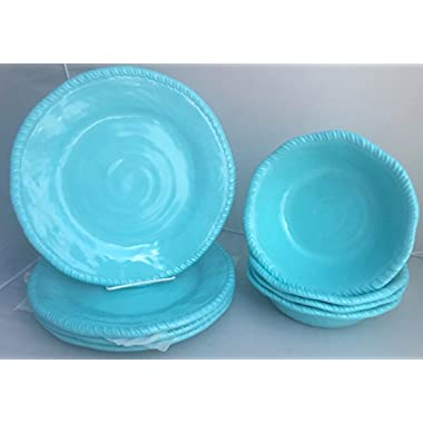 Eight (8)-Piece Tommy Bahama Turquoise / Electric Blue Heavyweight Melamine Rope Dinner Plates and All Purpose Bowls Set for Indoor / Outdoor Dining