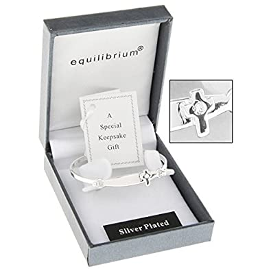 Equilibrium Silver Plated Cross Detail Baby Bangle Christening Gift WhqP1As
