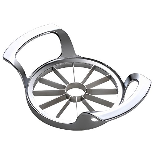 Savorliving 12-Blade Extra Large Apple Slicer, Corer, Cutter, Wedger, Divider for [up to 4 Inch Apples] - Ultra-Sharp 100% 18/8 Stainless Steel (Modern Fruit Pear)