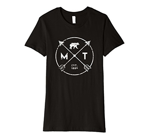 Womens Montana Adventure T Shirt  Est 1889 Bear Arrows State Gift Small Black