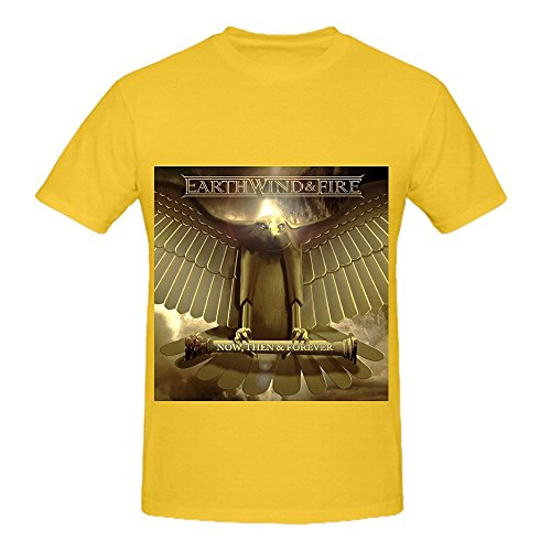Earth, Wind & Fire Now Then Forever Electronica Men Crew Neck Customized Shirts Yellow