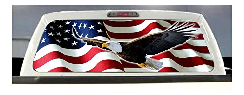NEWEST! AMERICAN FLAG EAGLE PICK-UP TRUCK REAR WINDOW GRAPHIC DECAL PERFORATED ()