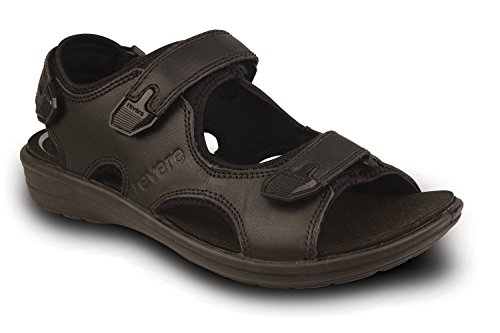 Revere Montana Mens Comfort Sandal With Removable Foot Bed and Adjustable Strap Leather Velcro Black 4H0gVLy1qX